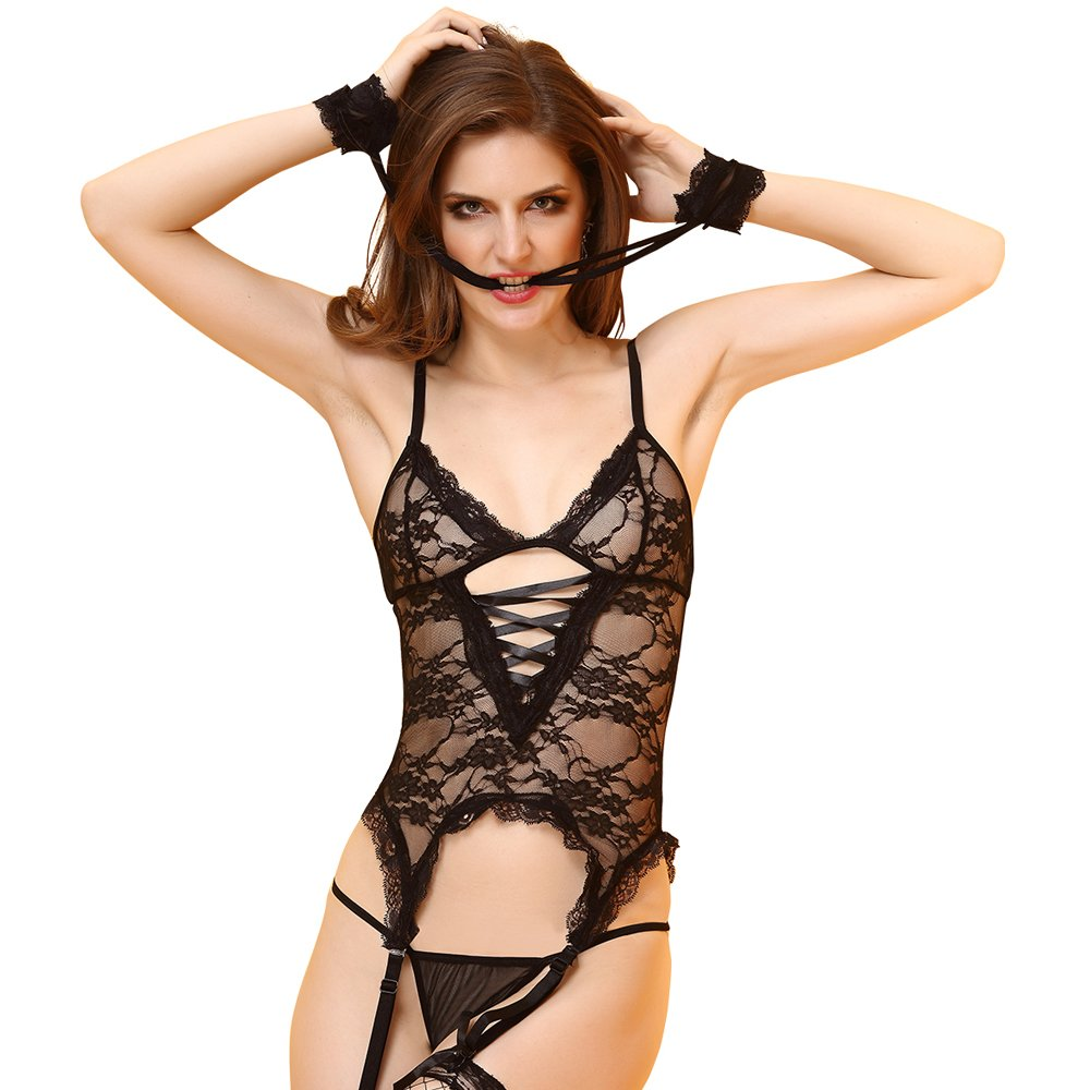 f2586783bc4 HOTER Women Erotic Sexy Lace Lingerie Teddy Bodysuit Set with Handcuffs and  Thong(Pack of 1 Set)