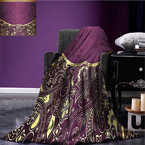 Yarn Fuchsia Plum - sunsunshine Eastern Digital Printing Blanket Oriental and Abstract Swirly Floral Frame Artistic Vintage All Season Blanket Antique Fuchsia Pale Yellow Plum Bed or Couch 70
