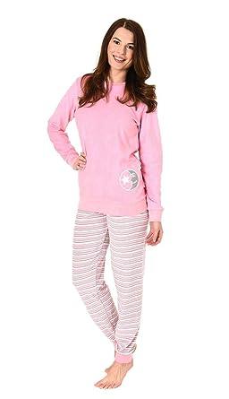 abcbc2a28d RELAX by Normann Damen Frottee Pyjama Schlafanzug Langarm mit Bündchen und  süssem Mond Motiv - 61238