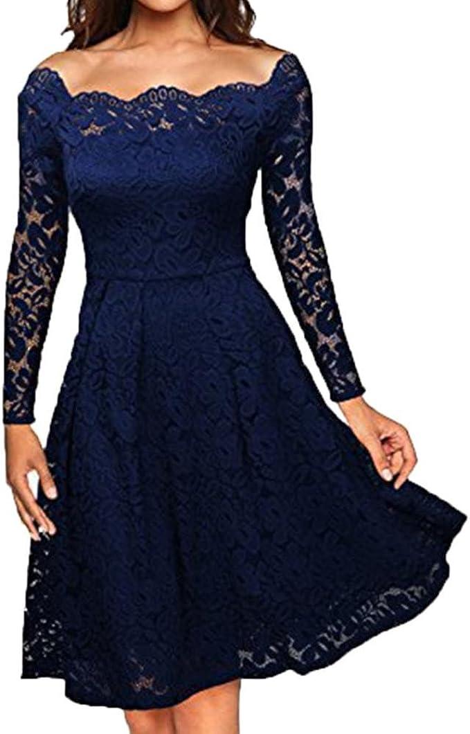 Lange Kleid Damen Sunday Hochzeit Freizeit Taglich Frauen Vintage Schulterfrei Spitze Formale Abend Party Kleid Langarm Kleid Alle Jahreszeiten Elegant Solide Kleid Amazon De Bekleidung