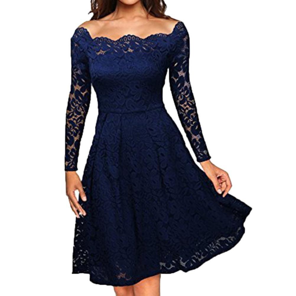 Lange Kleid Damen, Sunday Hochzeit Freizeit Täglich Frauen Vintage Schulterfrei Spitze Formale Abend Party Kleid Langarm Kleid Alle Jahreszeiten Elegant Solide Kleid