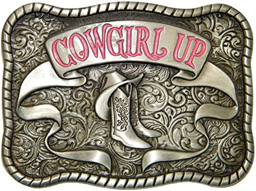 Cowgirl Up Belt Buckle, Die Cast, Pewter Finish with Pink Enamel (Enamel Pewter Belt Buckle)