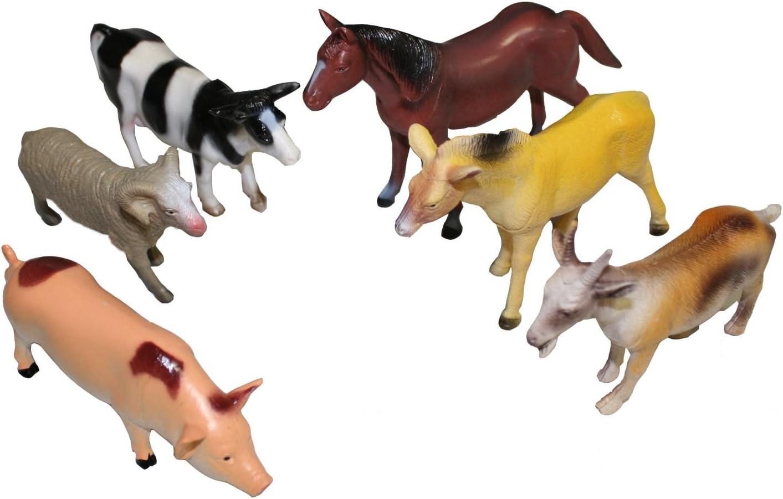 """10cm Spielset Bauernhof Pferd Kuh Schwein Schaf . 5 Spielfiguren /""""Farmtiere/"""" ca"""