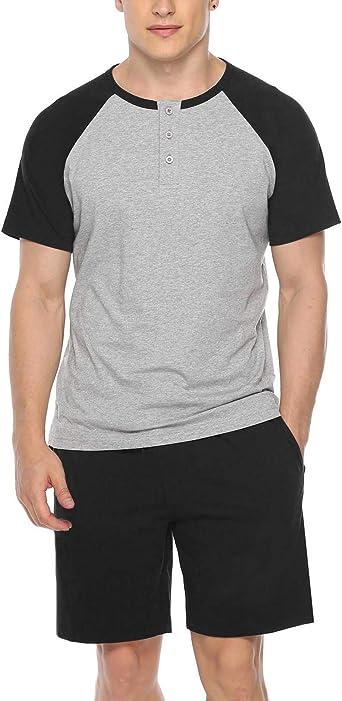Sykooria - Pijama Corto de Verano para Hombre Conjunto de Pijama para Hombre de Algodón Suave y Transpirable para el Hogar-Negro-L