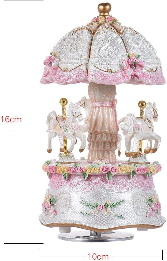 Music Box Carousel for Girls 3-Horse Windup Rotating Creative Musical Gift Melody Castle in The Sky Baby Kids Daughter Birthday Christmas Festival Music Box Artware Pink