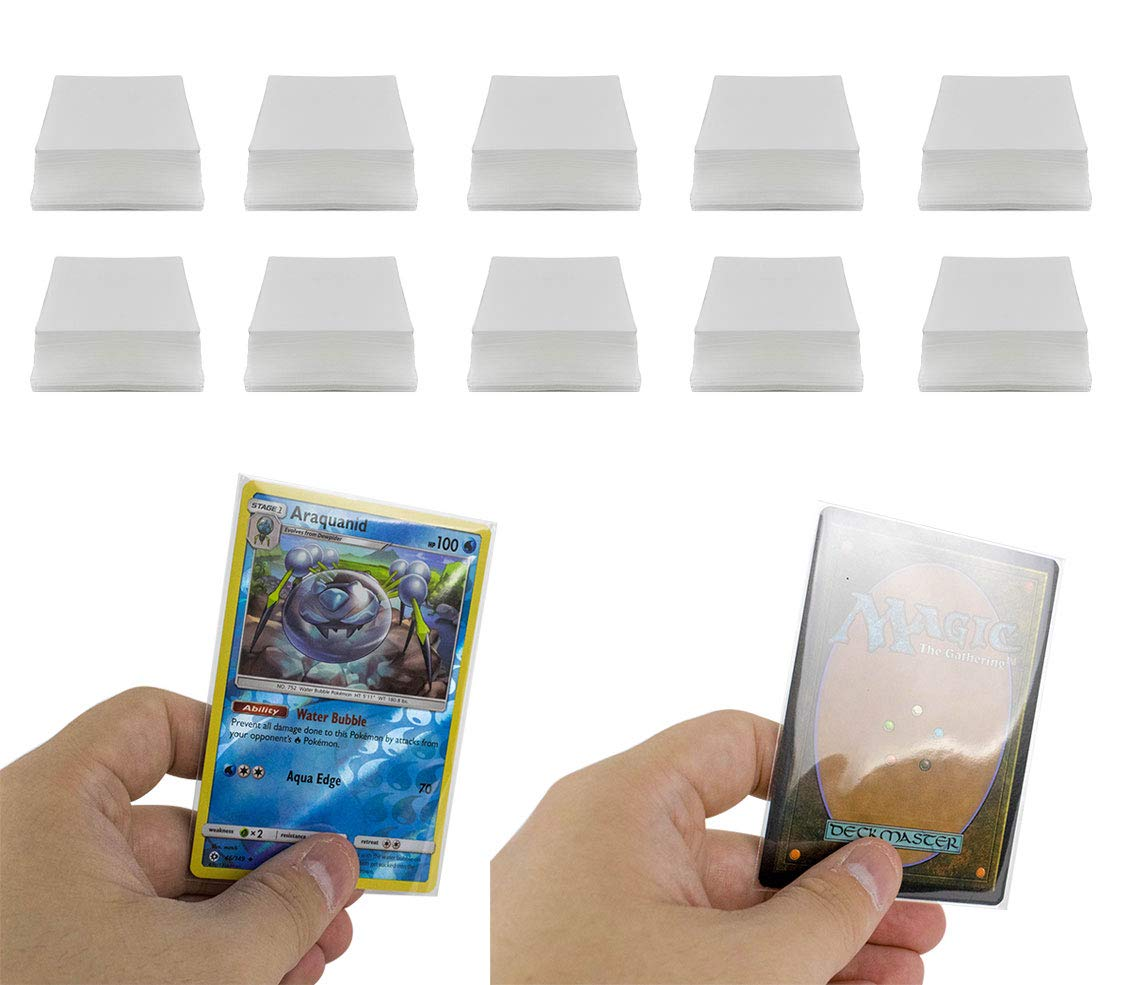 DeElf 1000 Clear Card Sleeves 66mm x 91mm for Pokemon Card, MTG Card, Exploding Kittens, Cards Against Humanity, Bad People, and Unstable Unicorn