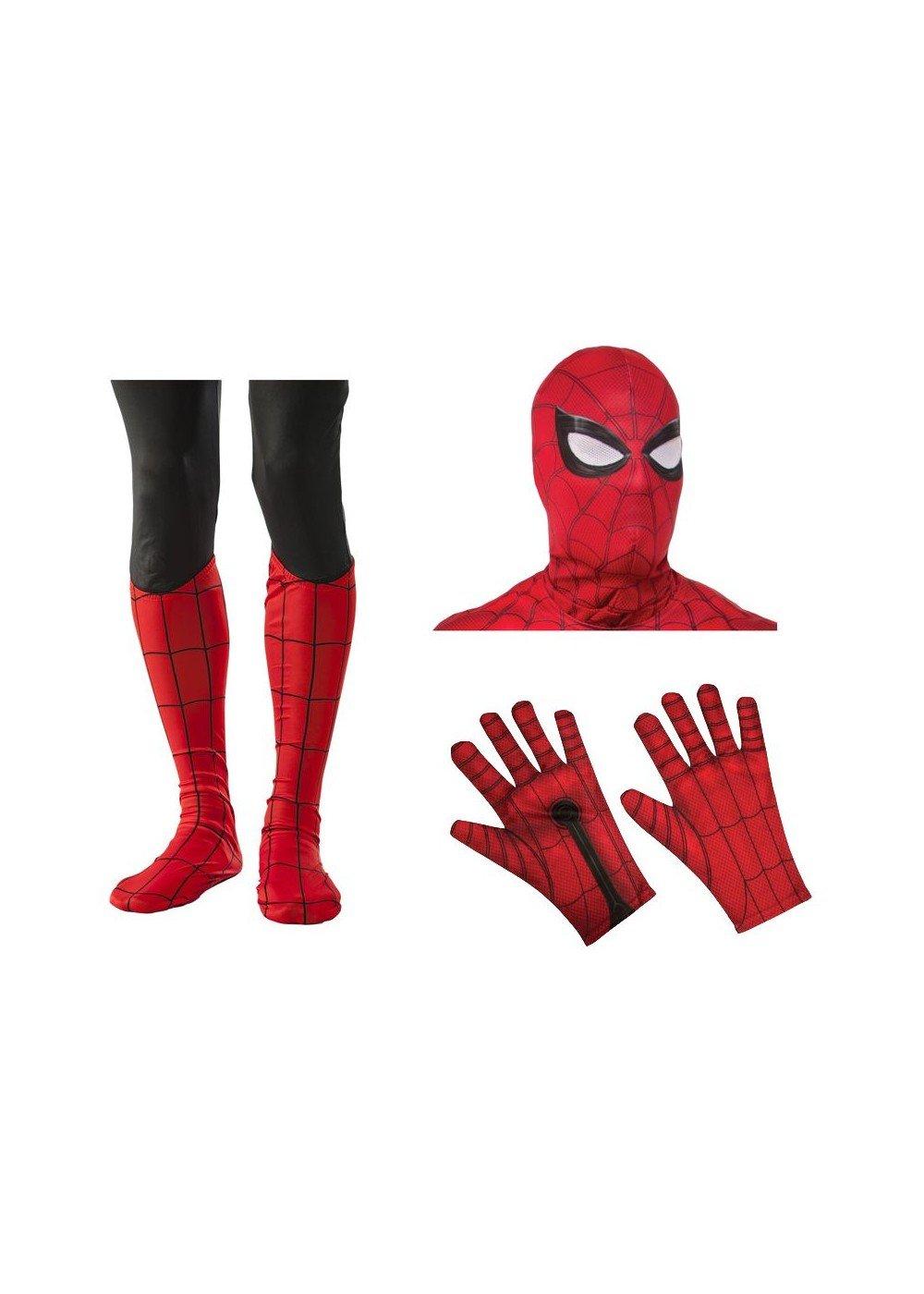 Spiderman Men Mask Gloves Boot Tops Costume Set