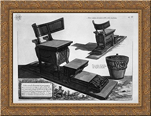 Curule chair of marble found at the Rostra in the Roman Forum, and a marble vase 24x20 Gold Ornate Wood Framed Canvas Art by Piranesi, Giovanni Battista