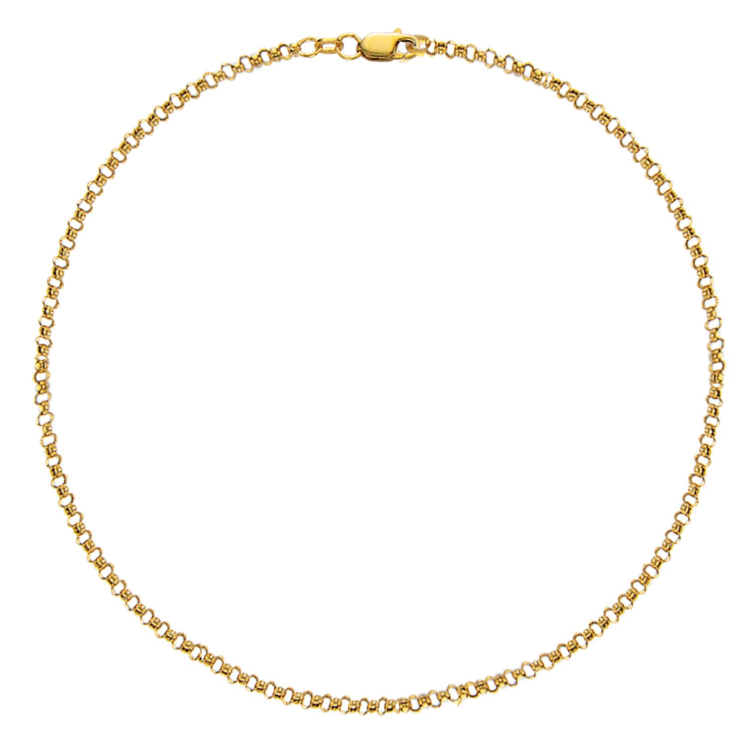 "10K Solid Yellow Gold Anklet Rolo Link Chain Ankle Bracelet 10"" Inch 2.3mm"