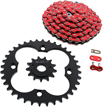 1999-2004 Honda 400EX TRX400EX Red O-Ring Chain and Silver Sprocket 13//39 94L