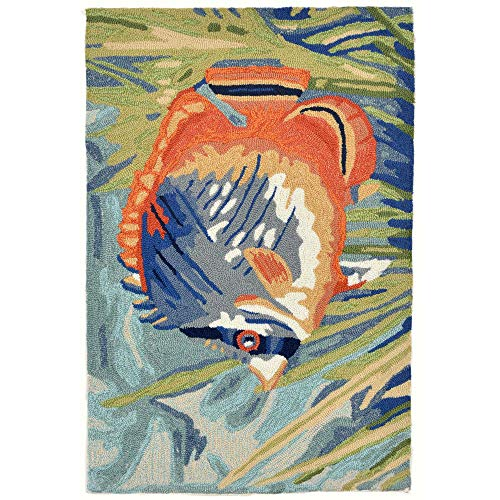 Liora Manne RVL23225504 Ravella Colorful Fish Tropical Fish Indoor/Outdoor Rug 2' X 3' Blue (Rugs Accent Tropical)