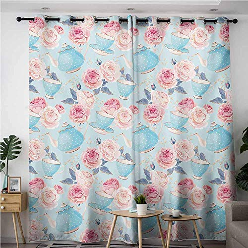 Curtains for Living Room,Vintage,Flowers Roses Vintage Teapot Cups Leaves with Blue Backdrop Artsy,Room Darkening, Noise Reducing,W72x96L,Baby Blue and Pale Pink ()