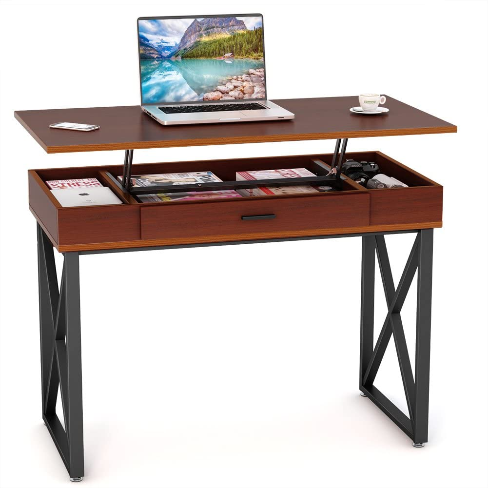 Tribesigns Computer Desk With Lift Top Height Adjustable Writing Desk Study Table Home Office Desk With Storage Works Well As Standing Desk Stand Up Workstation Dark Teak Amazon Ca Home Kitchen
