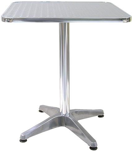 Tavolo tavolino quadrato con piede centrale per Bar Bistrot in Alluminio  60x60 cm interno e esterno balcone casa giardino