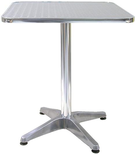 Tavoli Da Giardino In Alluminio Amazon.Tavolo Tavolino Quadrato Con Piede Centrale Per Bar Bistrot In