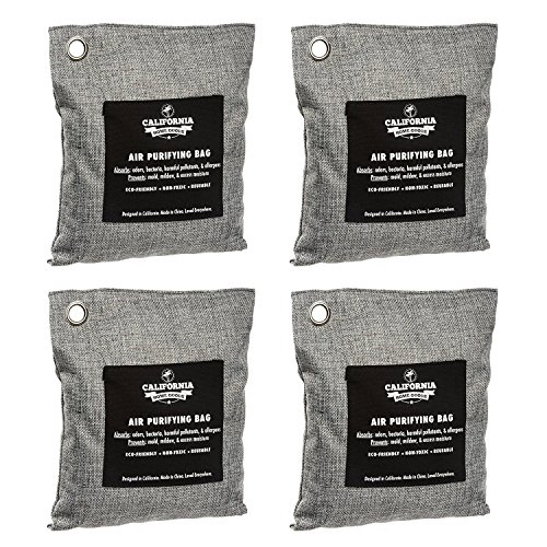 4 Pack - 200g Activated Charcoal Deodorizer Odor Neutralizer Bags, Unscented Air Freshener, Car Freshener, Moisture Absorber, 100% Chemical-Free Odor Eliminator, by California Home Goods