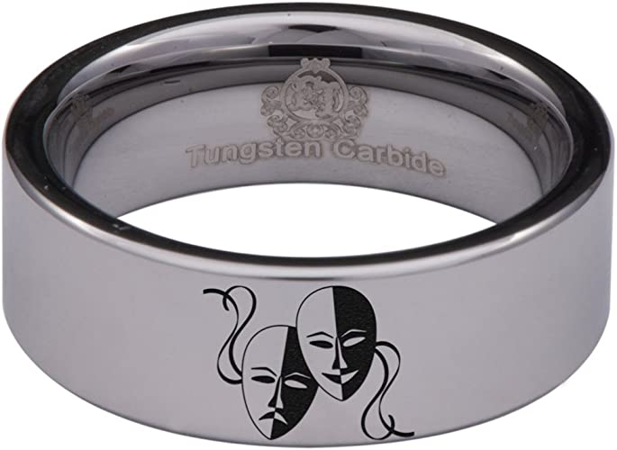 Black Tungsten Carbide Thespian RIng 8mm Wedding Band Anniversary Ring for Men and Women Size 9.5