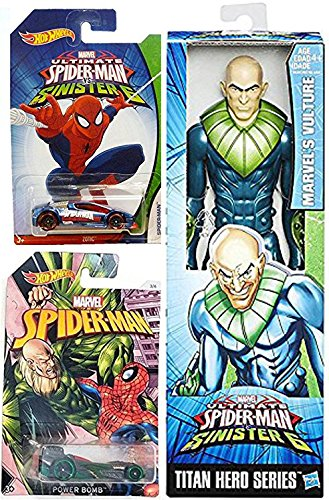 Hot Wheels Marvel Spider-Man Sinister 6 Vulture Villain Exclusive set Collectible car bundle & Marvel Titan 12