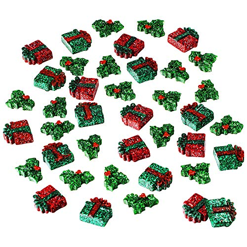 besttoyhome 40 Pcs Holiday Collection Small Glitter Presents Holly Pieces Embellishment for Winter Holiday Seasonal Party Décor Art Craft DIY Project Earrings Embellishment (Holly Wrap Holiday Decor)