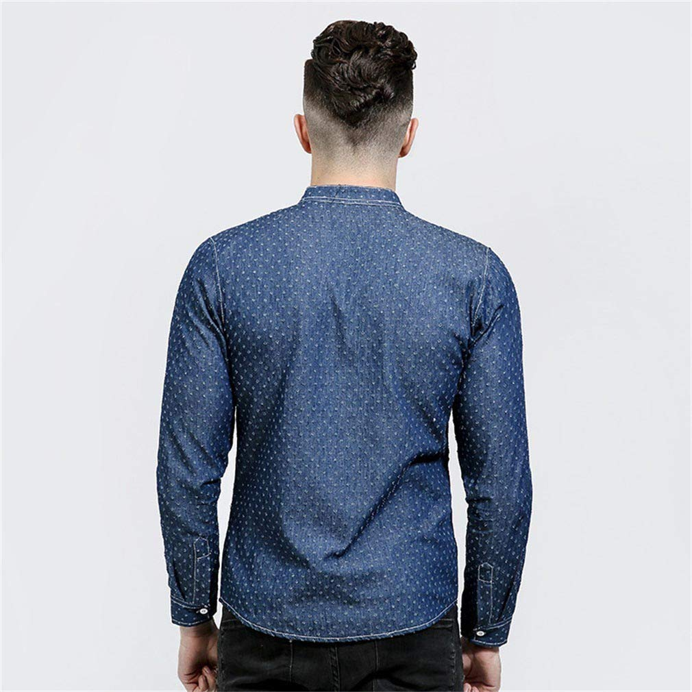 Mens Casual Long-Sleeved Denim Shirt Fashion Dot Small Hole Pocket Leather