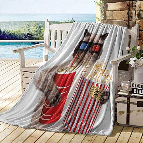 Mademai Movie Theater Decor Soft Blanket,Cat with Popcorn and Drink Watching Movie Glasses Entertainment Cinema,Kids Blanket Multicolor 50
