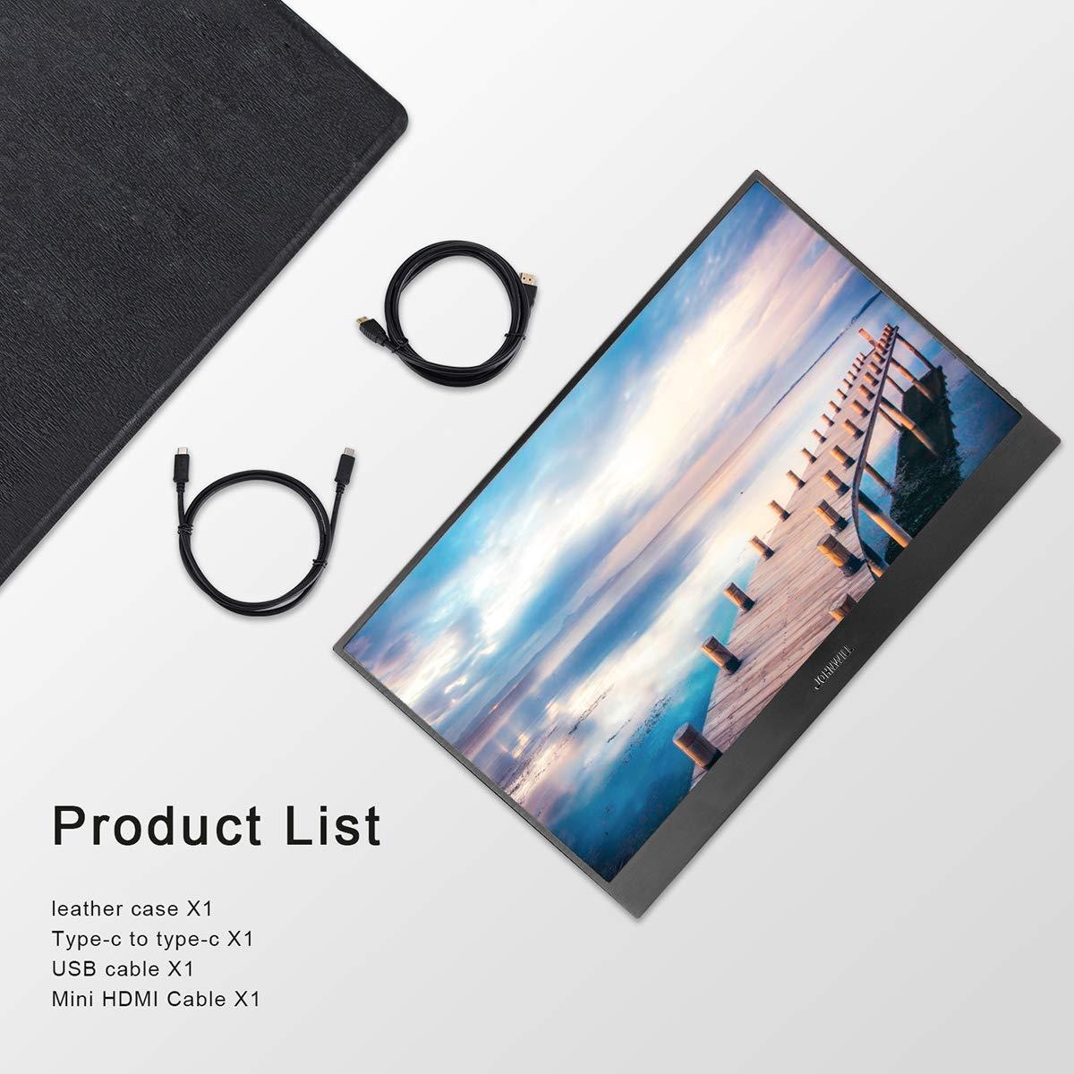 JOHNWILL Tipo C Monitor portatile Due interfacce USB Ultra HD 2560 x 1600 IPS Display LCD//LED Ultra HD HDMI//Due tipo C 10,1 pollici USB C Monitor per videogiochi Enclosure metallo nero