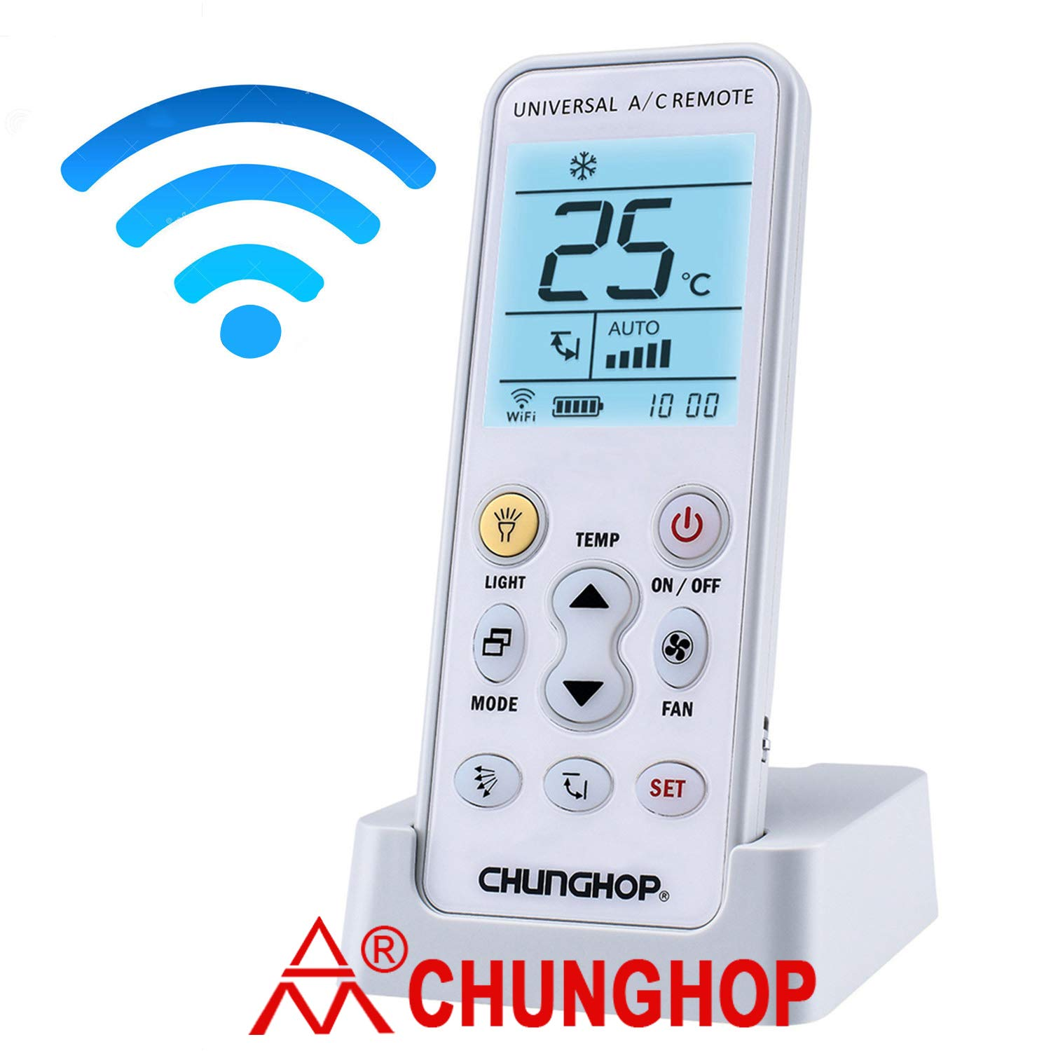 CHUNGHOP Air Conditioner Remote K-390EW APP Phone WiFi Universal A/C Controller Air Conditioning Control for LG TCL Toshiba Panasonic York Fujitsu Chigo Gree Carrier and Other Brands NO Window A/C
