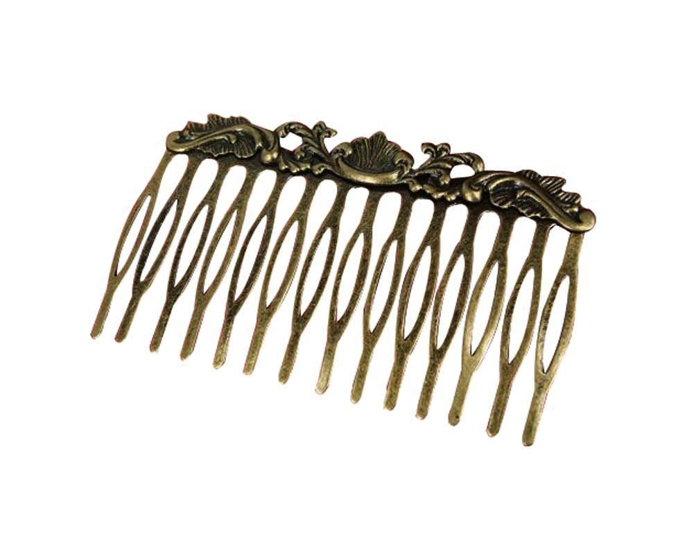 2Pcs Retro Bronze Hair Comb Flower Vine Cirrus Mini Comb Decorative Comb,2.7x1.5''