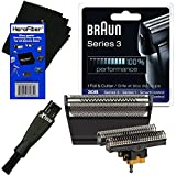Cheap Braun 30B Replacement Head Foil & Cutter Set for Select Series 1, Series 3, SmartControl, TriControl (7000/4000 Series) Shavers + Double Ended Shaver Brush + HeroFiber Ultra Gentle Cleaning Cloth