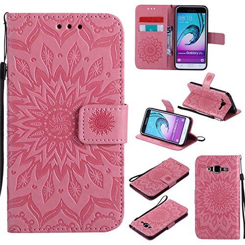 Soft Silikon TPU Innere Schale Mode Pr/ägung Brieftasche Flip - kelman Handyh/ülle f/ür Samsung Galaxy J3 2015 // J3 2016 // SM-J310 Rosa 5.0 H/ülle Schutzh/ülle 3D Sonnenblume PU Leder