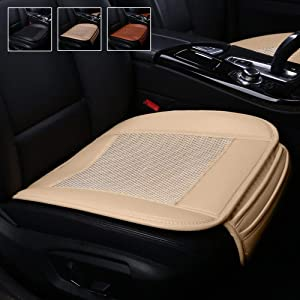 Suninbox Car Seat Covers,Ice Silk Car Seat Covers Pad Mat[carbonized Leather] Ventilated Breathable Comfortable Interior Seat Covers, Anti-Skid Four Seasons General [Beige Front Seat]