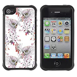 Híbridos estuche rígido plástico de protección con soporte para el Apple iPhone 4 / 4S - bird pattern vintage wallpaper floral