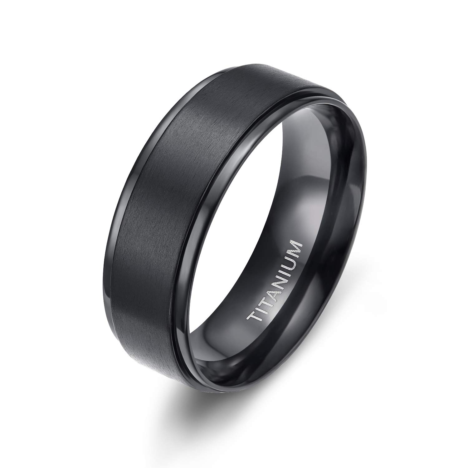 TIGRADE 8MM Comfort Fit Titanium Wedding Band | Engagement Ring with Black Plated and Brushed Top finish | Grooved Polished Edges(9.5)