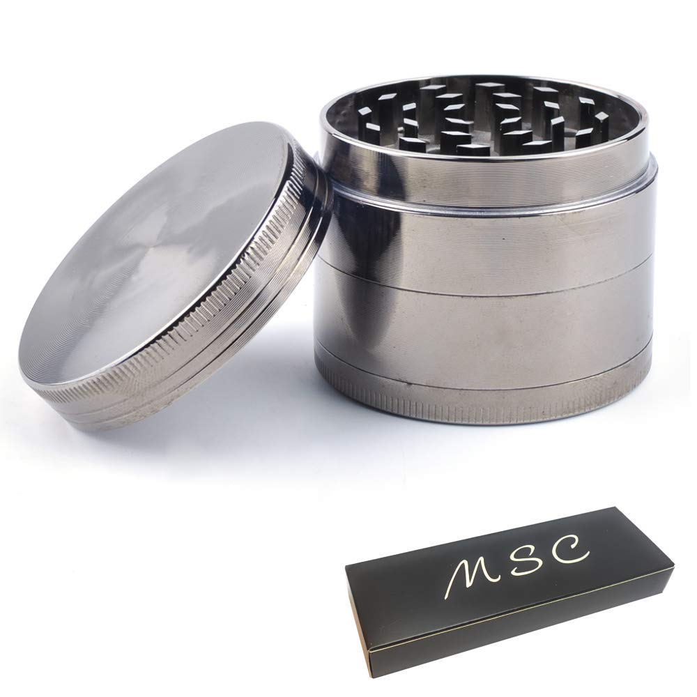 Premium Aluminium Metal Herb Grinder with Sifter and Magnetic Top for Spice Quality Built 2.15 Inch // 55mm Grinder GunMetal1pc Dry Herbs and Tobacco MSC