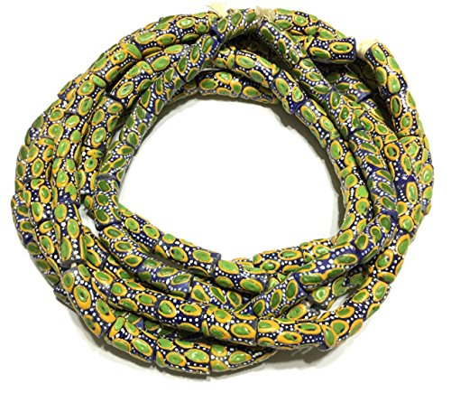 African Ghana Green multi Krobo cylinder Recycled Glass African trade beads - Strand of Eco-Friendly Fair Trade Beads from Ghana - Green Glass Trade Beads