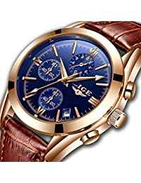 Watch for Man,LIGE Men's Watches Fashion with Date Business Dress Analog Quartz Wristwatch Waterproof Chronograph Luminous Brown Leather Clock