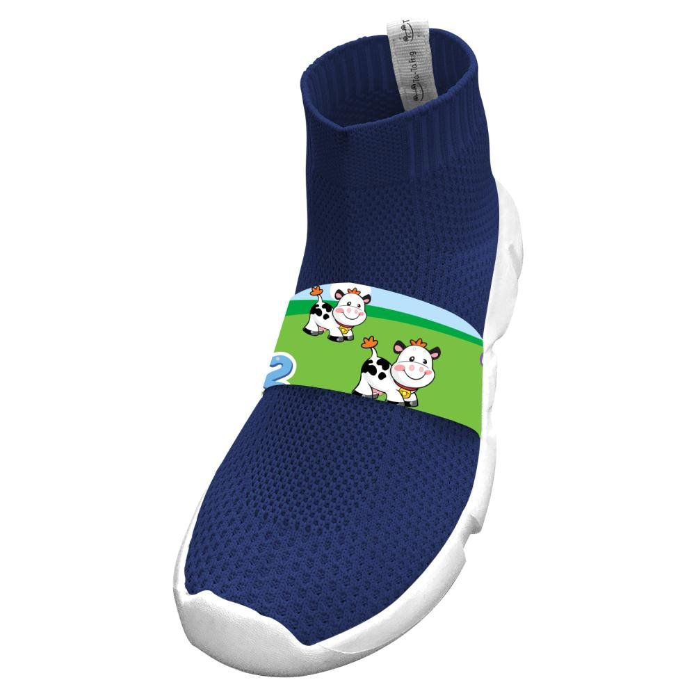 Fly Knit Lightweight Cartoon Dairy Cattle Athletic No Tie Sneakers For Kids