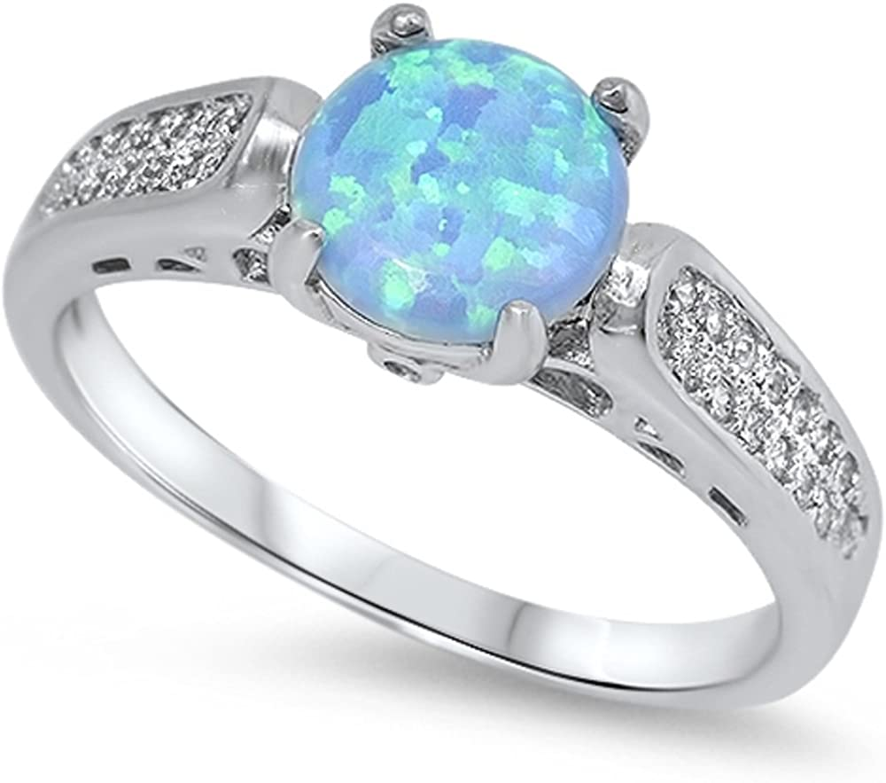 CloseoutWarehouse Round Light Blue Simulated Opal Cubic Zirconia Ring Sterling Silver Size 7