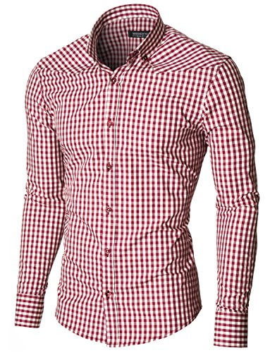 MODERNO Mens Checkered Shirts Dress Slim Fit Long Sleeve Button down (MOD1458LS) Red / White US L