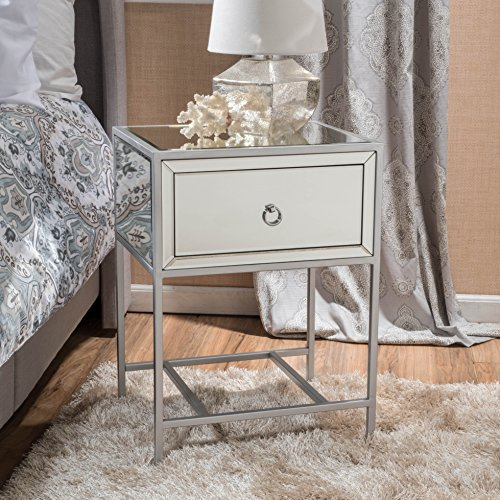 Athena Mirrored Silver 1 Drawer Side Table by GDF Studio