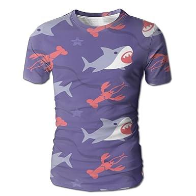 470a085fca71 Amazon.com  Shark and Lobster Men s 3D Full Printed T-Shirt Casual ...