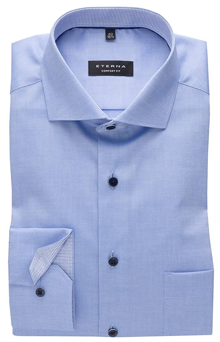 TALLA 46W, Longitud Normal (65 cm). Eterna - Camisa Formal - Básico - Cutaway - Manga Larga - para Hombre