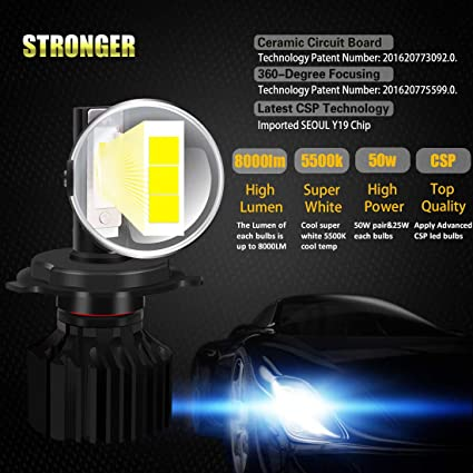 Amazon.com: LED Headlight Bulbs - Sampino H4 (Hi/Lo) Headlights All-in-One Conversion Kit 2Packs (DOT Approved) with 8000LM Light Bulbs CSP LED Chips - Cool ...