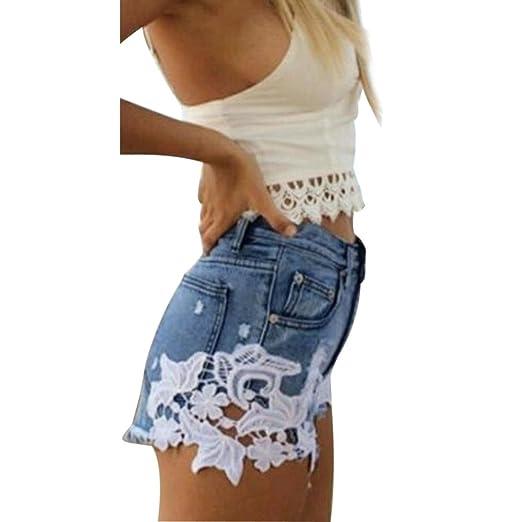 5c65e312a5 Amazon.com: Vintage High Waist Denim Shorts Women Tassel Lace Loose ...