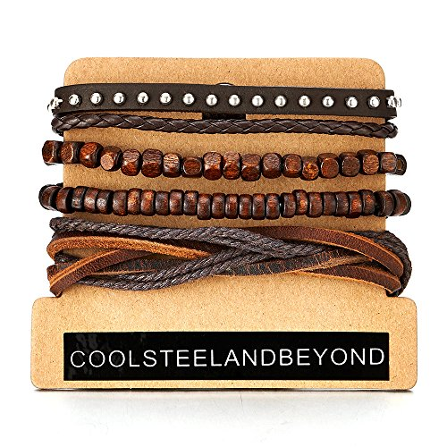 Mix of 4 Brown Wrap Bracelets for Men and Women, Multi-strand Wood Beads Rivets Leather Wristbands