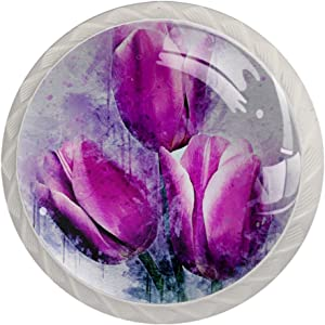 Zuyoon Kitchen Cabinet Knobs Watercolor Tulip Purple Kitchen Cabinet Knobs Clear Glass Bookcase Knobs for Boys Girls (4pcs) 1.38x1.10IN