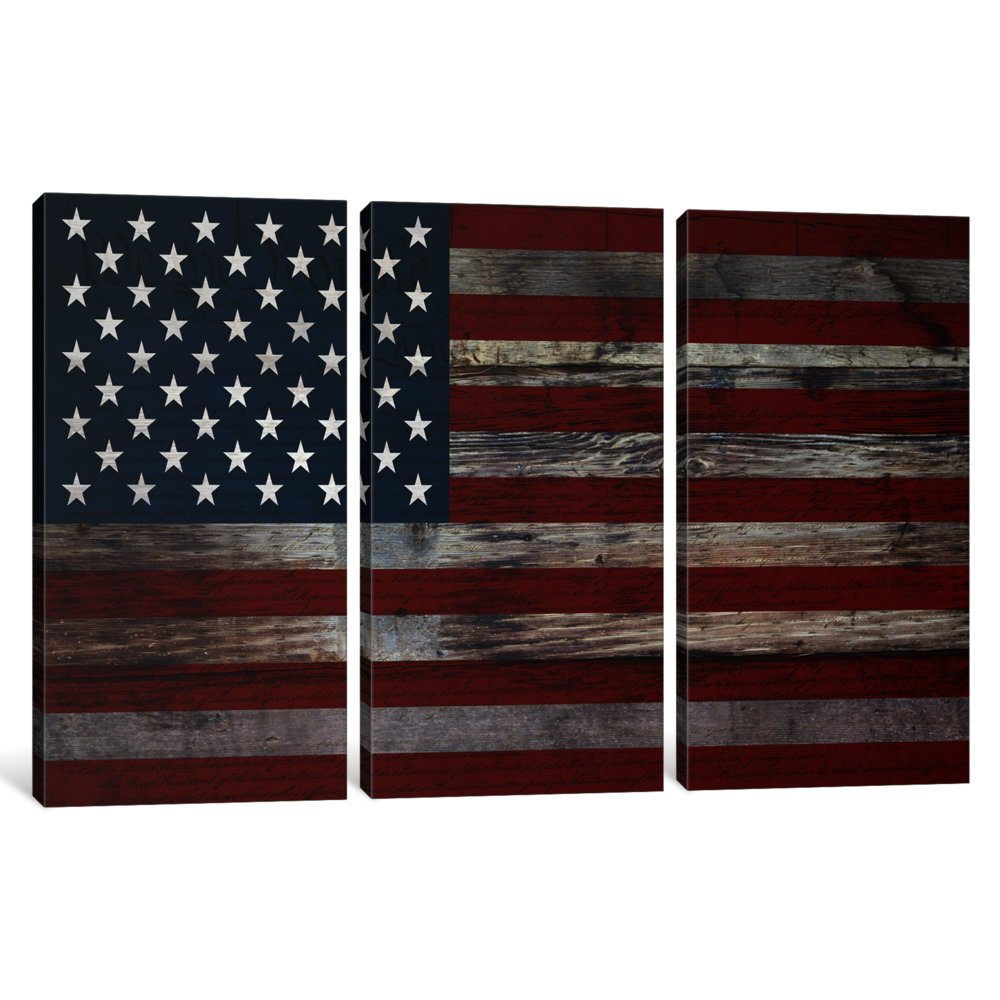American Flag Wood Boards Canvas Print by Kitsch Opus 1.5 by 40 by 60-Inch FLG418-3PC6-60x40 iCanvasART 3-Piece US Constitution