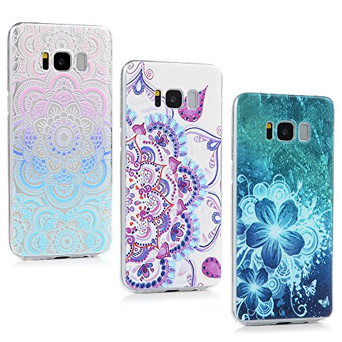 Galaxy S8 Case, YOKIRIN 3 Pcs Shock-Absorbing Colorful 3D Totem Flower Crystal Clear Shell Super Slim Case Translucent Flexible Hard PC Defensive Prot…