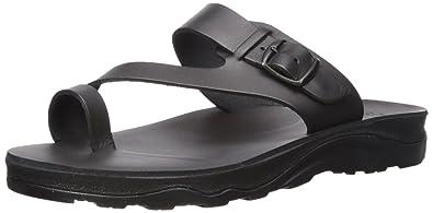 277e9195dae5 Jerusalem Sandals Men s Abner Molded Footbed Slide Sandal Black 47 Medium  EU (14 ...