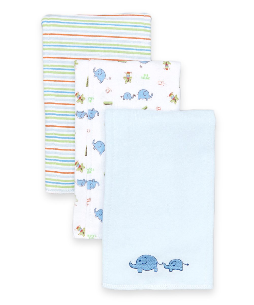 SpaSilk Baby-Boys Newborn 3 Pack 100% Cotton Burp Cloths, Blue Elephant, One Size by Spasilk